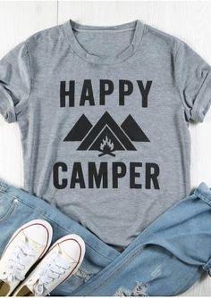 68c86a8e686 Happy Camper T-Shirt Casual Confortable