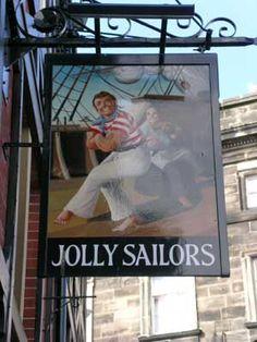 Pub sign of the Jolly Sailors Pub Signs, Shop Signs, The Ship Inn, Nautical Signs, England And Scotland, Bar, Sailors, Metal Signs, Shops