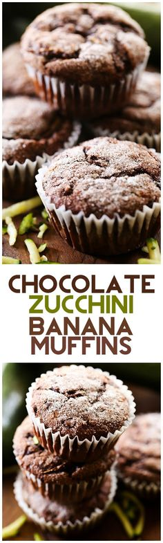 Chocolate Zucchini Banana Muffins... these muffins are seriously AMAZING! The texture and flavor are PERFECTION!