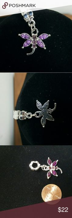 Lilac Dragonfly pendant Silver plated dragonfly pendant with rhinestones. 10 % of the sale goes to the March of dimes in memory of my sisters and brother who were born prematurely. Bundle with a chain from my closet and save! Kira's Kreations  Jewelry Necklaces