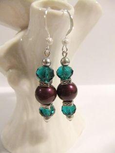 Purple Swarovski Crystal Pearls Teal Crystal by ShannonsWhimsies, $14.00