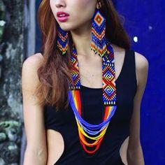 myilumina on Etsy Native American Beading, Native American Jewelry, Bead Loom Patterns, Beading Patterns, Beaded Jewelry, Beaded Necklace, Loom Beading, Artisanal, Bead Weaving