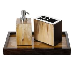 signature collection luxury pale polished horn bathroom set inc vanity tray soap pump