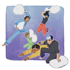 Pillow fight. Lance and Keith would so be trying to obliterate each other. And I can see Shiro trying to comfort a devastated Hunk after his pillow is taken from him.