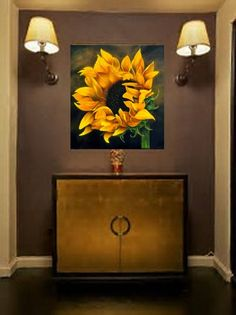 Painting On Canvas Acrylic Painting Flower Landscape Sunflower Painting Original Painting Painting Wall Art Canvas Art Original - Painting Horse Oil Painting, Painting Canvas, Painting Clouds, Grand Art Mural, Art Sur Toile, Acrylic Painting Flowers, Acrylic Art, Sunflower Art, Sunflower Paintings