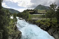 The Bøvra river seen from Fossberg, the centre of Lom municipality. Lom is the eastern end of the Sognefjellet  National Tourist Route (Norway) and a natural starting point from which to explore other National Tourist Routes in this area. The nearest ones are the Strynefjellsvegen and Valdresflya routes.  Photo: Jarle Wæhler