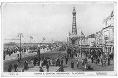 The Blackpool Tower and Central Promenade. Blackpool England, Sea Side, Old Pictures, Paris Skyline, Tower, Beach, Places, Travel, Antique Photos