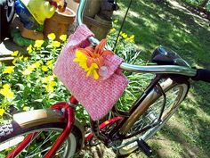 Crochet Bicycle Basket pattern by Janet Spirik. Oh my goodness! Ive been wanting a basket/ bag on my bike so bad. Couldnt find any baskets though because its a mountain bike...