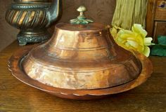 Antique Turkish Copper Bowl with Lid