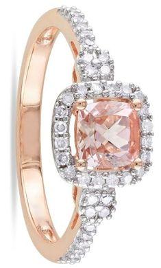 Rose Gold, Morganite And Diamond Ring
