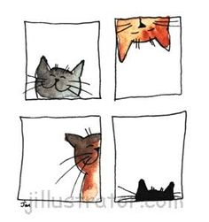"Résultat de recherche d'images pour ""jill latter cats"" #illustration #cats #jillustrator"