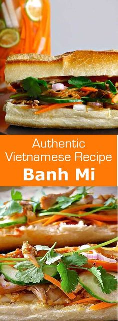 Vietnamese banh mi consists of a loaf of crispy bread, sweet and sour pickled…