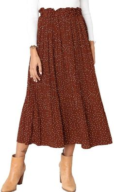 online shopping for Exlura Womens High Waist Polka Dot Pleated Skirt Midi Swing Skirt Pockets from top store. See new offer for Exlura Womens High Waist Polka Dot Pleated Skirt Midi Swing Skirt Pockets Midi Skirt Casual, Long Skirt Outfits, Pleated Midi Skirt, Chiffon Skirt, Flare Skirt, High Waisted Skirt, Work Outfits, Pretty Outfits, Yeezy Outfit
