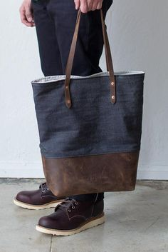 Boutonne Denim and Leather Tote / [The Mills Tote no. 002]