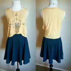 .F r a n c e s c a 's. Navy Skater Skirt Adorable skater skirt! Would go great with a crop top and gladiator sandals. 77% polyester 19% rayon 4% spandex. Fits true to size. No holes, stains, or signs of shrinking.  *Bundle 2 items or more for 10% off  *No trades Francesca's Collections Skirts Circle & Skater