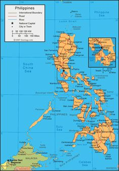 A political map of Philippines and a large satellite image from Landsat. James Tour, Philippine Map, Economic Events, Asia Map, Social Studies Worksheets, Filipino Culture, Single Travel, Mindanao, Poster Pictures