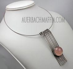 Kaunis Koru Modernist Sterling Necklace - Finland 1970 Sterling Necklaces, Wire Necklace, Metal Necklaces, Pendant Necklace, Pendant Jewelry, Jewelry Art, Silver Jewelry, Vintage Jewelry, Jewelry Design