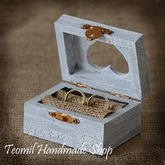 Wedding Ring Box Ring Bearer  Ring Pillow Rustic Vintage by Teomil