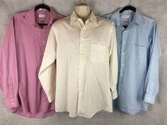 3 Mens LS Dress Shirts Size 15 Van Heusen Wrinkle Free ~ White, Blue, Lavender #VanHeusen