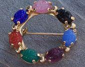 Vintage Scarab Circle Brooch