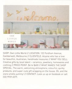 Own Little World // Frankie Magazine, Creative Gifts, Melbourne, Handmade, Shopping, Beautiful, Design, Hand Made