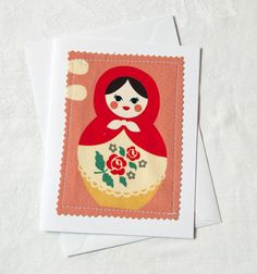 Russian Nesting Doll Greeting Card Nesting Doll Blank by Weezi, $3.50