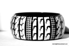 Houndstooth 64bit: GREYHOUND & HOUNDSTOOTH Bracelet Bangle- Black and White Houndstooth Jewelry, Fashion Accessory Jewelry,  Unique Animal/Dog Print  Bangle