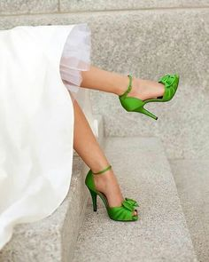 Green Satin Shoes