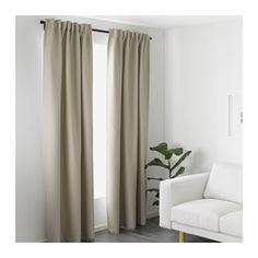 VILBORG Curtains, 1 pair, beige beige 57x98