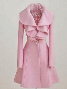 RUNWAY FASHION: Large Pink Lotus Leaf Collar Wool Long Coat Pink