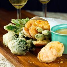 BITTERGARNITUUR  Crisp Tempura Vegetables with Miso-Mustard Dipping Sauce - I love tempura fried veggies!
