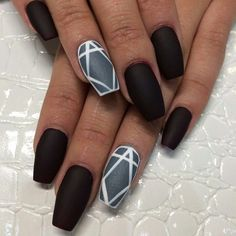 In this article, you'' get some tips and collection of simple matte nail art designs for beginners. These designs will decorate your nails and make you look Classy Nail Designs, Black Nail Designs, Pretty Nail Designs, Nail Art Designs, Nails Design, Classy Nails, Simple Nails, Trendy Nails, Nice Nails
