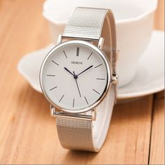 2015 New Famous Brand Silver Casual Geneva Quartz Watch Women Metal Mesh Stainless Steel Dress Watches Relogio Feminino Clock