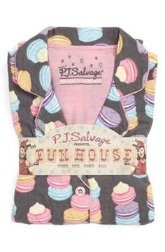0ad37861942 PJ Salvage Print Flannel Pajamas in Grey Macarons Pajamas All Day