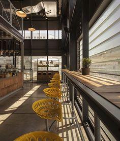 counter, bar stools, concrete floor, shutters