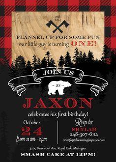 Lumberjack Birthday Party Invitation with by DreamingInPaperEtsy