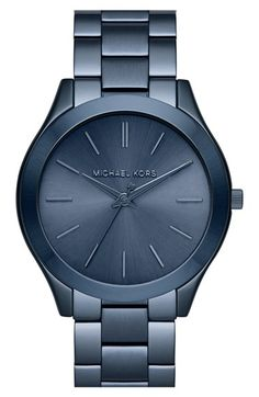 Free shipping and returns on MICHAEL Michael Kors Michael Kors 'Slim Runway' Bracelet Watch, 42mm at Nordstrom.com. Slender stick indexes simply style the sunray dial on a sleek, dual-finished watch with a minimalist aesthetic and slim profile.