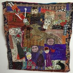 New on Glenys wall great stitching by Daphne Mihan #textileallsorts#stitching#kanthastitching#faces#handmade#indiantextiles#scraps#improvquilt