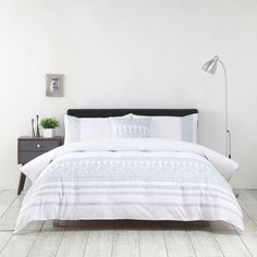 Aarini Embroidered Duvet Cover Set & Cushion - Bed Bath & Beyond