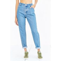 Native Youth Mom Jean - Vintage Light Blue ($76) ❤ liked on Polyvore featuring jeans, light wash high waisted jeans, white high waisted jeans, white jeans, white straight leg jeans and high-waisted jeans