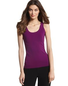 AMETHYST SEAMLESS TANK  STYLE: 570053540  Overall Rating  4.8 / 5  read all 12 reviews  write a review  Incredibly soft, seamless tank. Subtly shapes for a smooth, sleek silhouette with absolutely no lines. 95% Nylon, 5% Spandex. Machine wash. Imported.