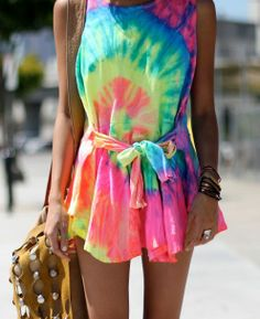 get an oversize white t-shirt, tie-dye it, and cut/structure/tailor it to your style