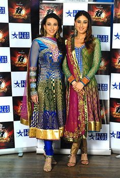 Beautiful Indian Suits worn by actresses Kareena and Karishma Kapoor