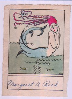 The hand colored mermaid bookplate above was signed by Bro. Chances are we will never find out who he or she was.