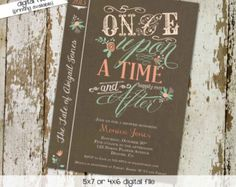 story book baby girl shower invitations floral vintage cover bring a book, digital, printable file (item 1379)