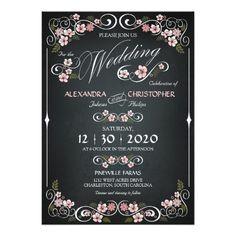 Chalkboard Floral Vintage Bold Wedding 5x7 Paper Invitation Card