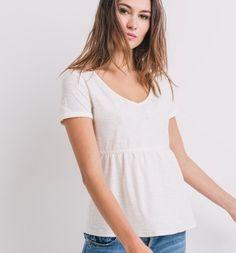 T-shirt brodé Femme ecru - Promod