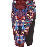 Red oriental print wrap skirt