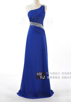 A-line Princess One Shoulder Floor-length Chiffon Evening Dress With Split Front$133.00