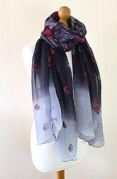 LADIES VINTAGE STYLE BLACK GREY & RED FLORAL ROSE PRINT SCARF PASHMINA SARONG £7.49